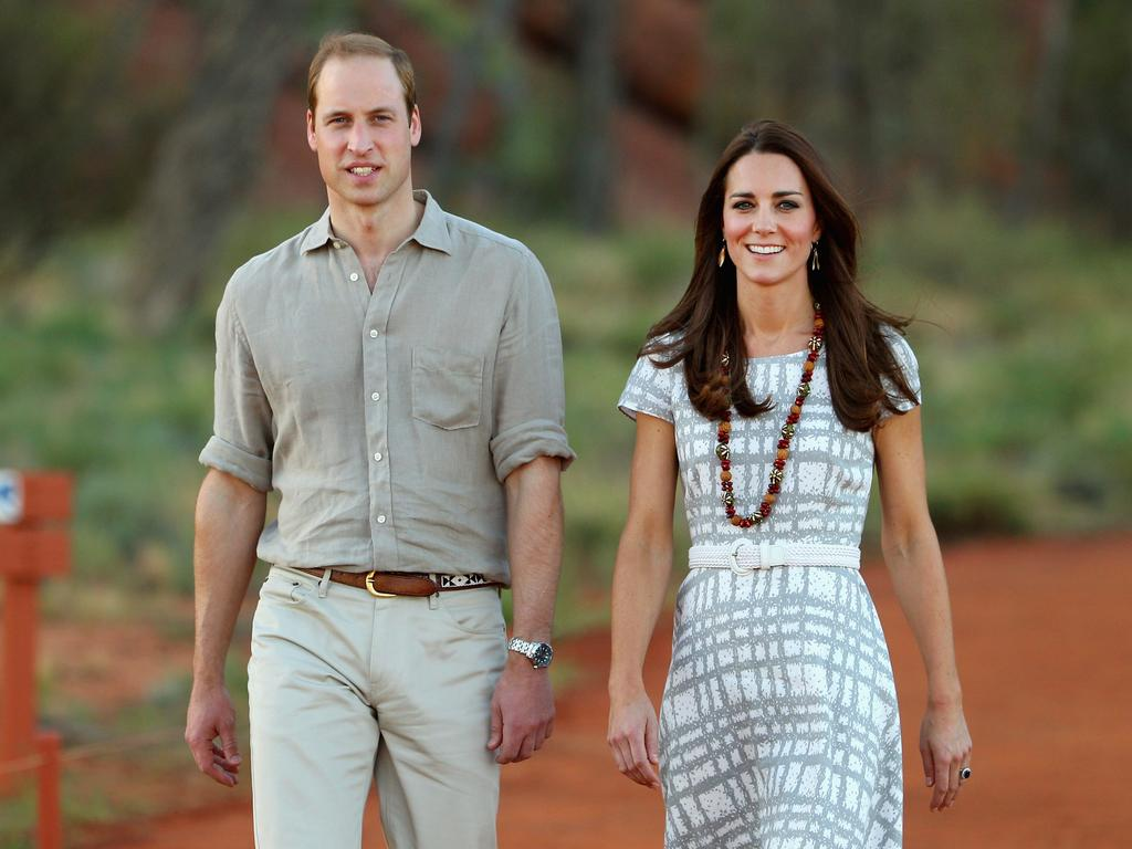 Prince William and Catherine, Duchess of Cambridge, at the base of Uluru on April 22, 2014. Picture: Scott Barbour/Getty Images