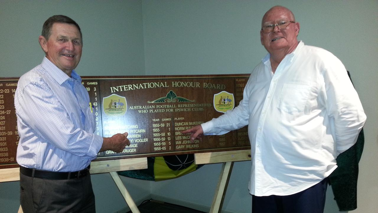 Project partners Ross Hallett (left) and John Roderick unveil the International Honour Board at the Ipswich Knights clubhouse on Saturday night. Picture: David Lems