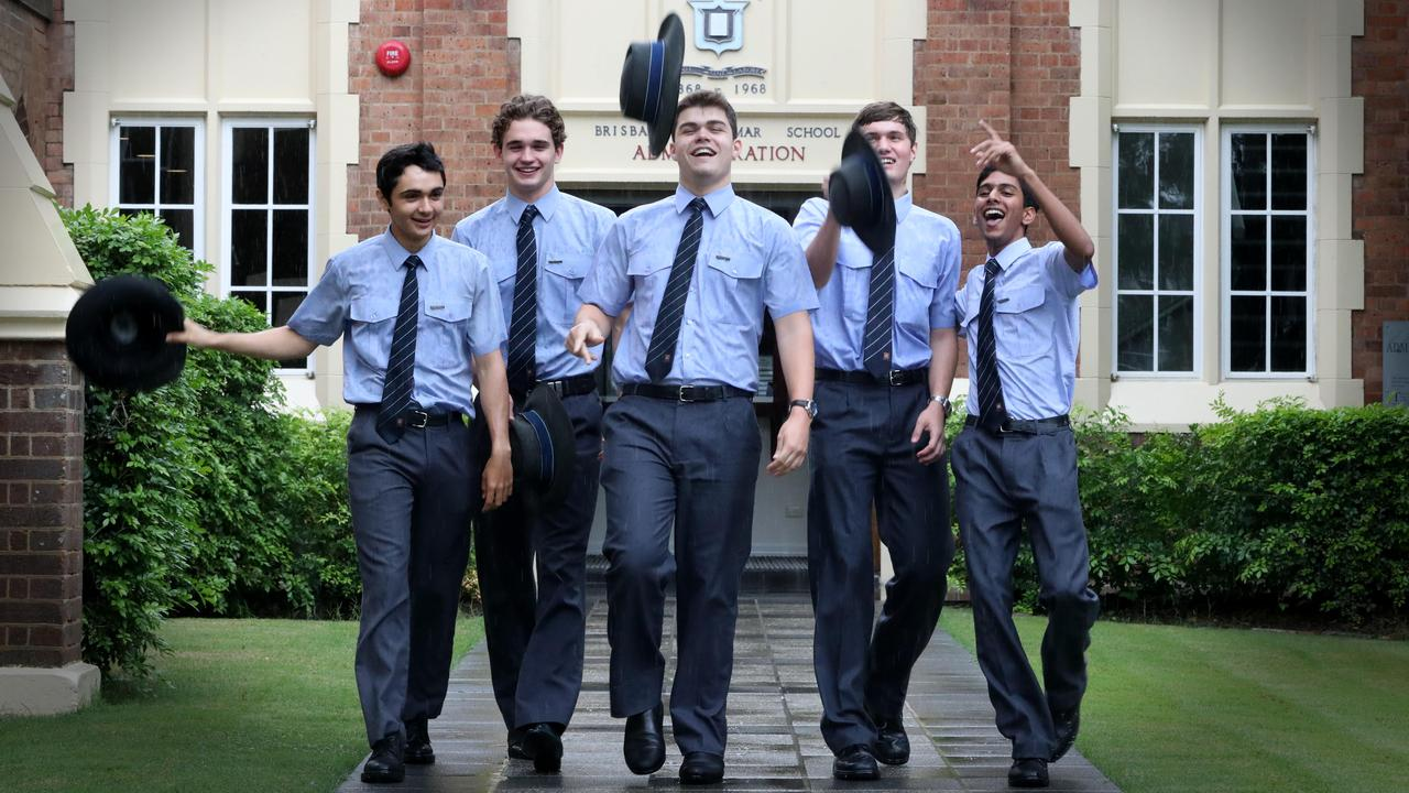 Brisbane Grammar School was again a top performer - students Hugo Gandhi, Flynn Boorer, Lewis Luck, Tom Dickson and Rishi Goel. Photo: Jamie Hanson