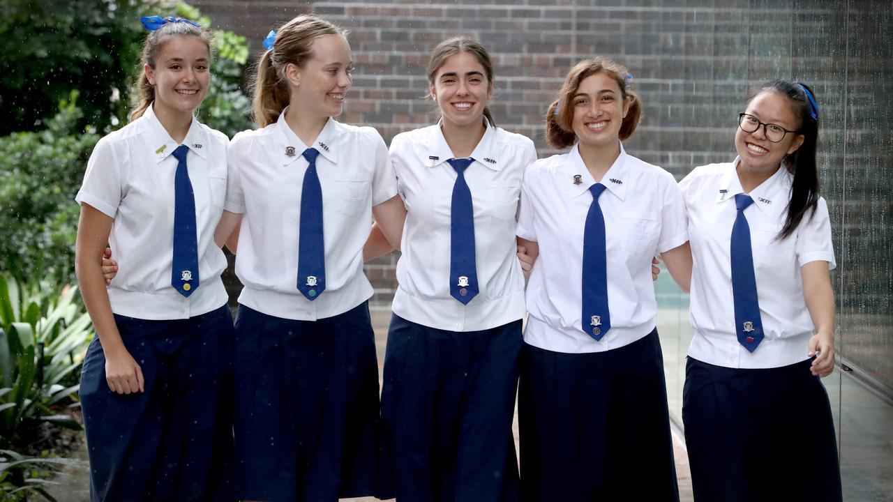 Matina Samios, Abbey Grice, Gia Cayas, Arwen Dias-Jayasinha and Eva Seet from Brisbane Girls Grammar School. Pic Jamie Hanson