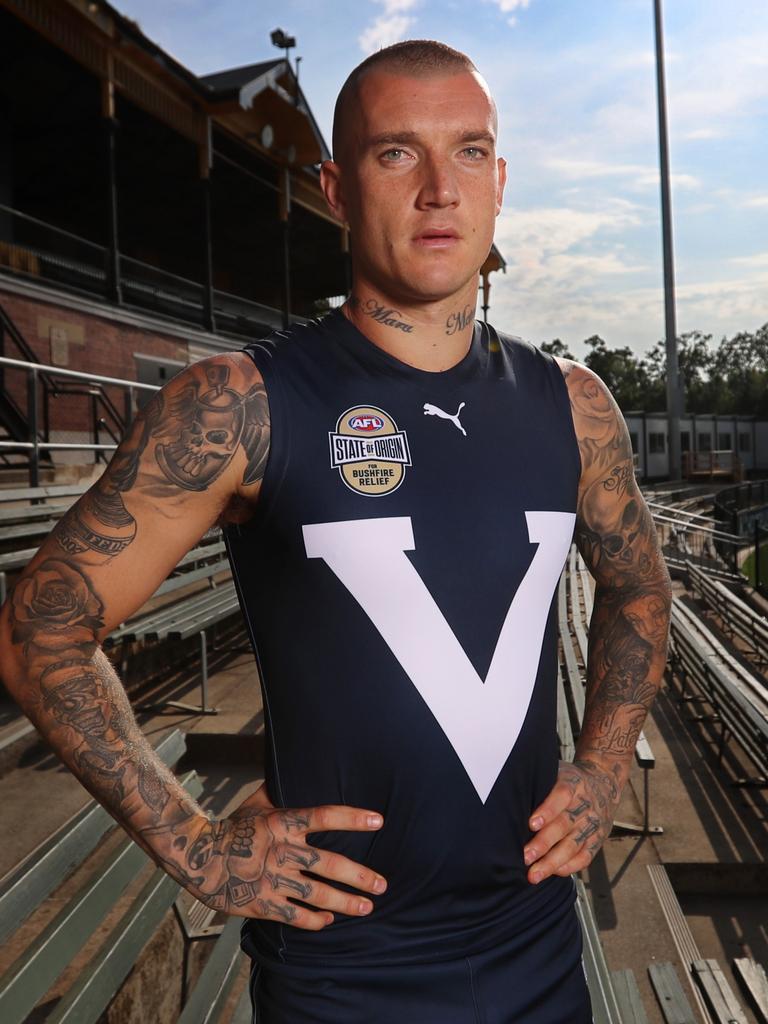 Dustin Martin will don the Big V in the AFL's State of Origin match. Picture: Alex Coppel.