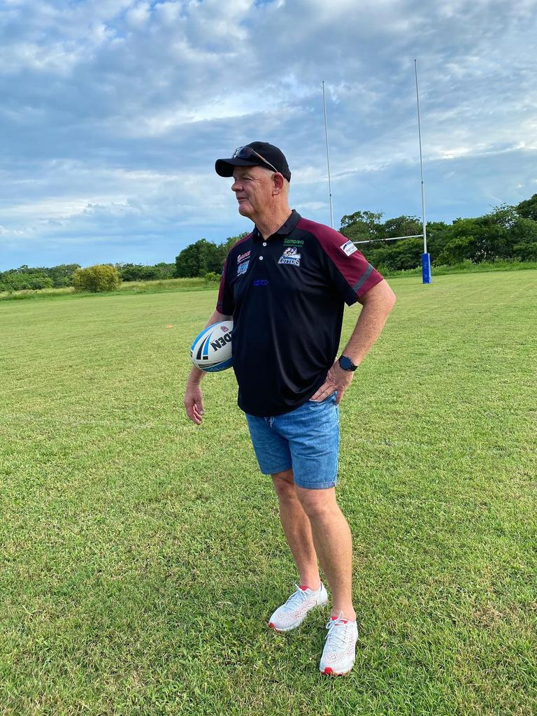 Mackay Cutters coach Michael Crawley surveys the field ahead of the trial against the Townsville Blackhawks in Bowen on Saturday.