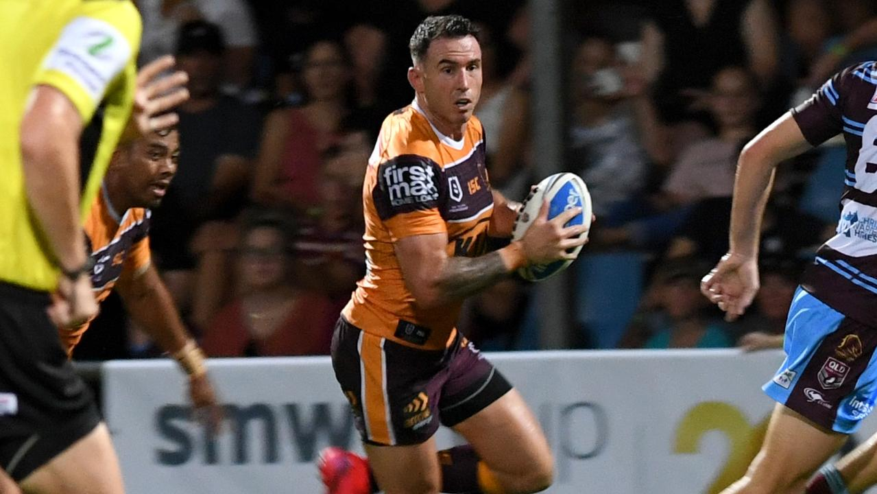 Brisbane Broncos' Darius Boyd goes on the attack against the CQ Capras. Picture: Jann Houley