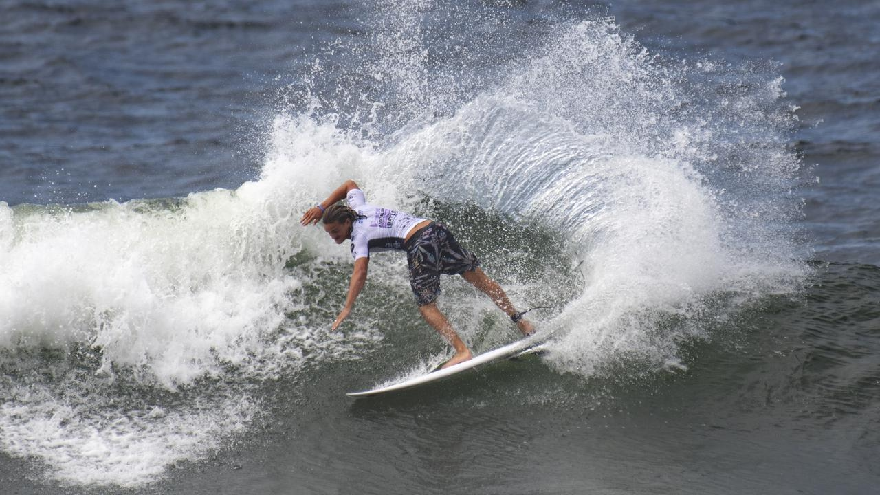 CARVING: Alister Reginato in action at newcastle. Picture: Surfing Australia.