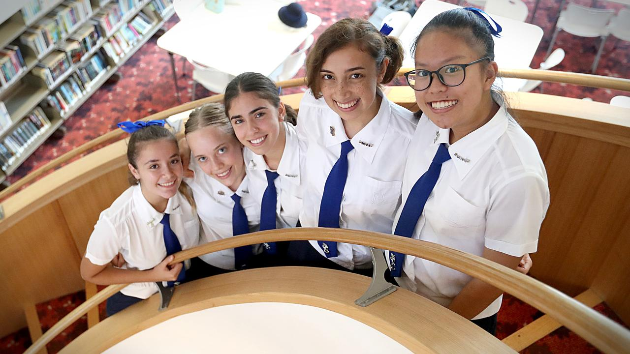 Matina Samios, Abbey Grice, Gia Cayas, Arwen Dias-Jayasinha and Eva Seet attend Brisbane Girls Grammar. Photo: Jamie Hanson