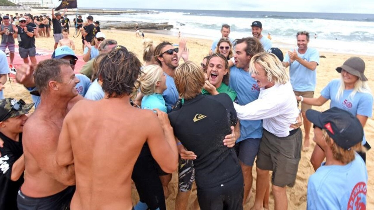 CHAMPIONS: North Shore and supporters celebrate. Picture: Surfing Australia