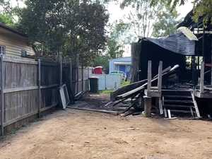 The remains of Kingaroy home after mysterious blaze.