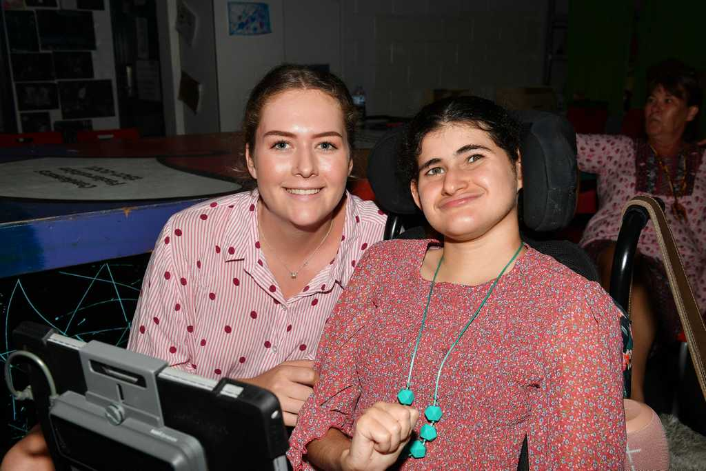 Image for sale: Lilly Rolfe and Lauren Carey hang out together at the Special Needs and Group Support Valentines Disco held at the PCYC. Picture: Tony Martin