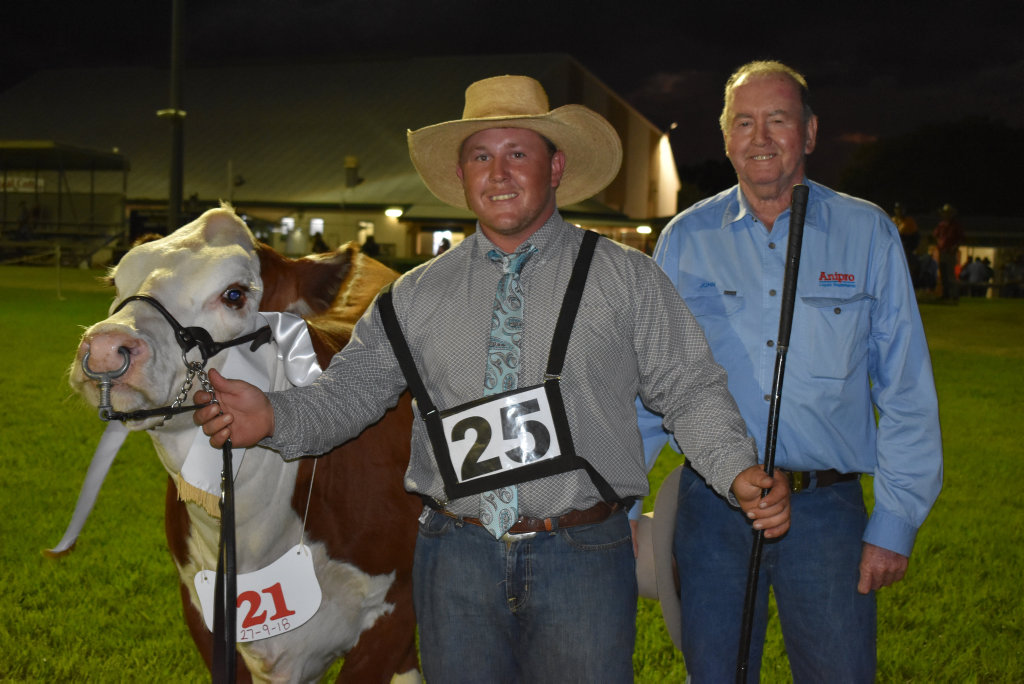 Image for sale: Reserve Champion Senior Heifer Kanimbla Nicky led by jamie Hollis, presented by John Hughes.
