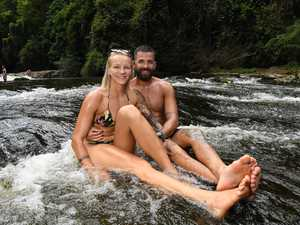 Gardners Falls in Maleny is flowing fast with the