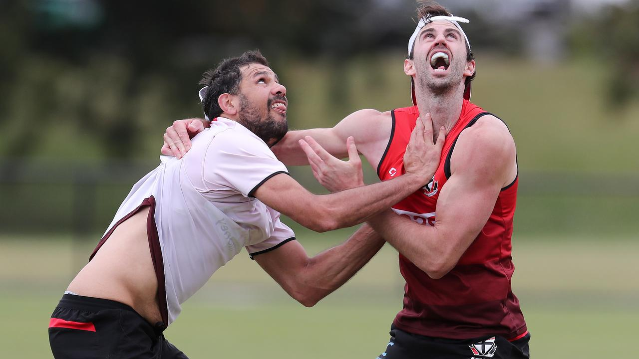 Paddy Ryder and Ryan Abbott at St Kilda training. Picture: Michael Klein