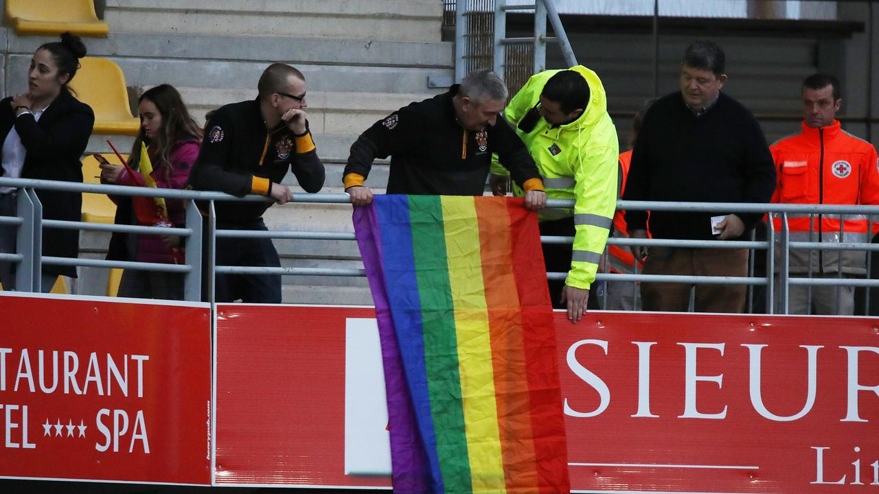 NEWS 360 PREMIUM LOCKED CONTENT – NO THE AUSTRALIAN/NO NEWS.COM/NO SKY NEWS/NO THE WESTERN AUSTRALIAN. People were asked to remove a rainbow flag during Israel Folau first rugby super league game with The Catalan Dragons against the Castleford Tigers in Perpignan, France. Picture: Ella Pellegrini