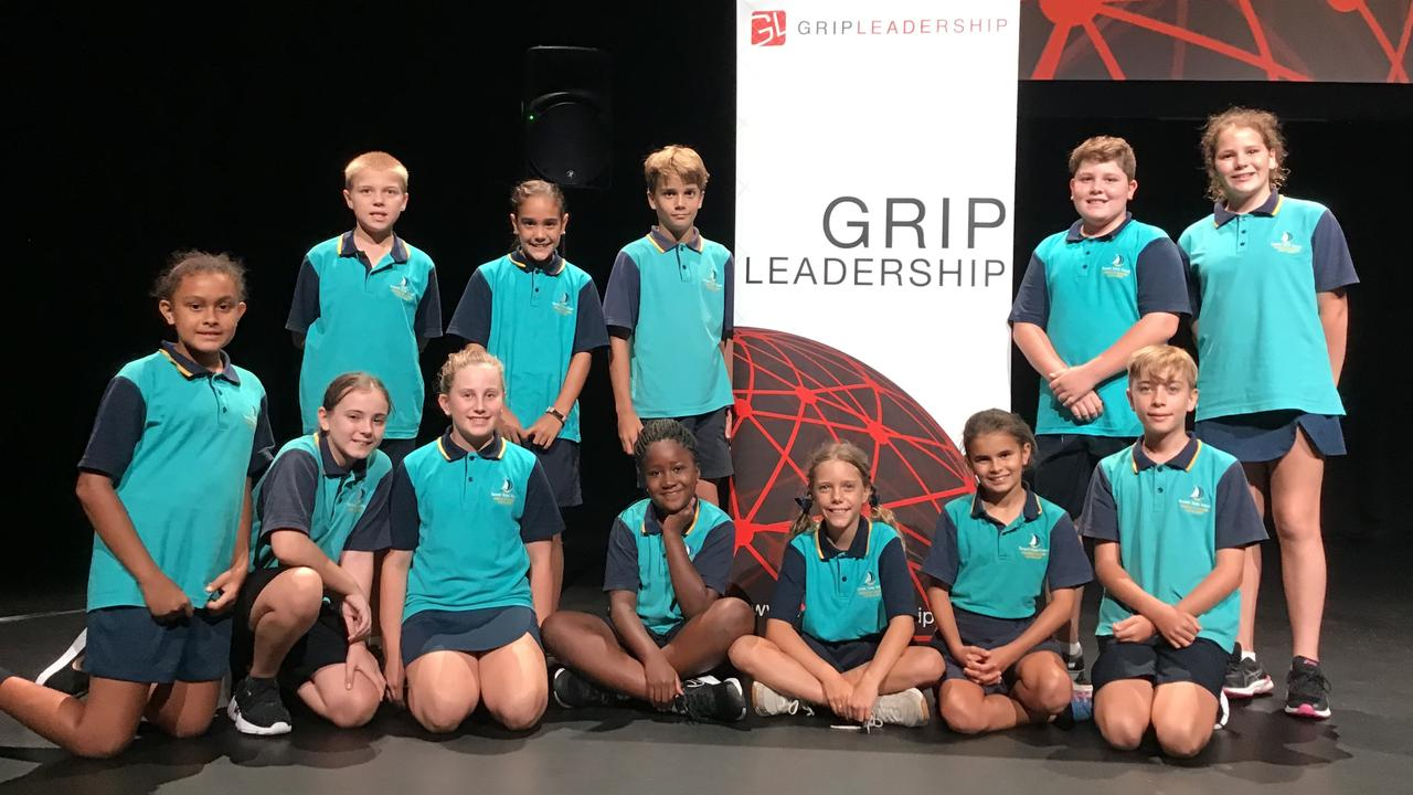 The 12 students from Bucasia State School who attended the group leadership conference at the Mackay Entertainment and Convention Centre on Thursday. Back row (from left): Felix Pace, Zoe Goodes Stibbards, Dylan Ticehurst, McKinlay Forman and Tahlia Tindall. Front row (from left): Tatiana Giblett, Eliza McQuarrie, Zara Richardson, Alisha Tsindi, Yasmin Wilson, Kiara Johnson and Beau Higgins. Pict