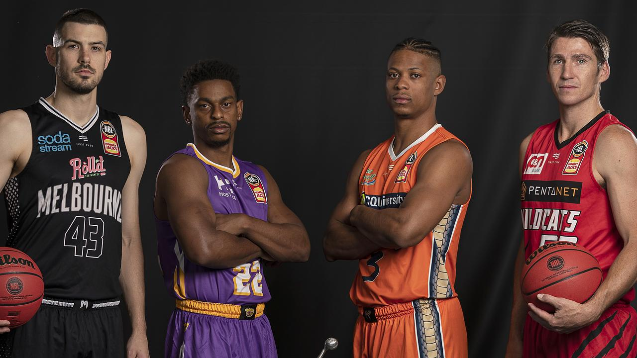 MELBOURNE, AUSTRALIA – FEBRUARY 17: (L-R) Chris Goulding of United, Casper Ware of the Kings, Scott Machado of the Taipans and Bryce Cotton of the Wildcats pose during the 2020 NBL Finals Launch at Crown Palladium on February 17, 2020 in Melbourne, Australia. (Photo by Daniel Pockett/Getty Images)