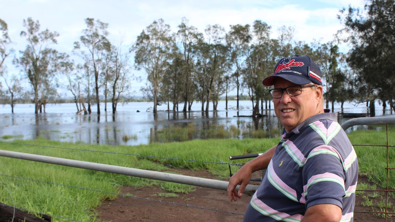 John Hoy on his property in Lawrence. Behind him is the Everlasting Swamp National Park which one month ago was completely dry. He wants National Parks to allow grazing in times of drought.