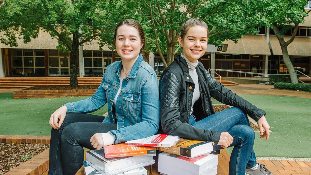 Highfields twin sisters Daisy (left) and Betty Appleby begin their tertiary education at the University of Southern Queensland today.