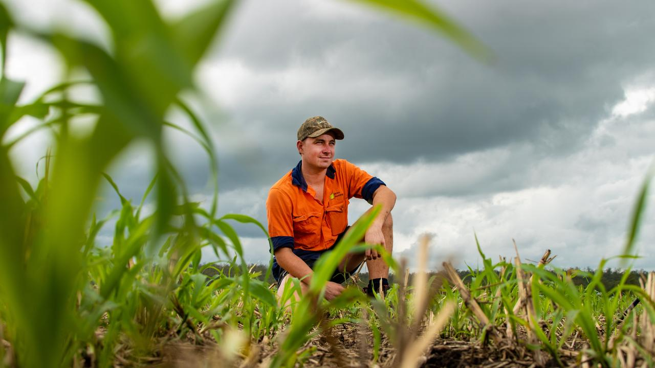 LET IT FLOW: Mitch Brimblecombe, farm manager of Moira Farms, at Forest Hill, in a paddock that would usually grow vegetables, is now being used for hay production due to a shortage of water. PHOTO: Ali Kuchel