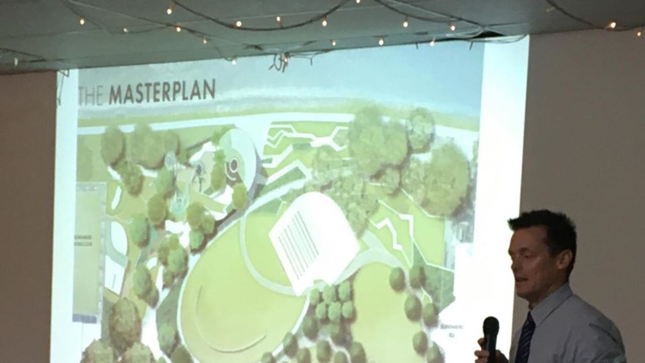 MASTERPLAN: Strategic projects executive director Ben Artup speaks on the potential redevelopment of the riverfront shown at the recent Bundaberg Chamber of Commerce breakfast.