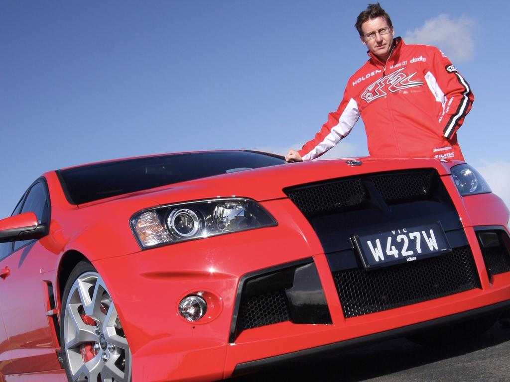 HSV W427 with race driver Mark Skaife in 2008. Picture: Joshua Dowling.