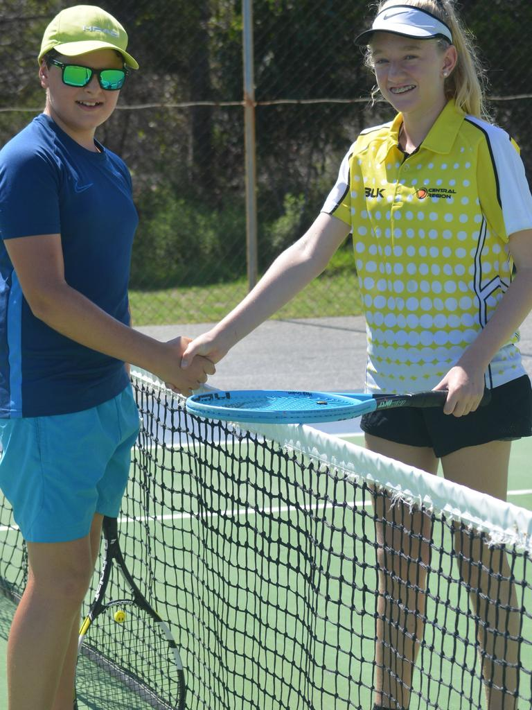 Madi Fenton from Gladstone Tennis and Tannum's Haydn Rethemel competed at the first-ever Junior Development Series event at the Tannum Sands Tennis Association Inc. PICTURE: Nick Kossatch