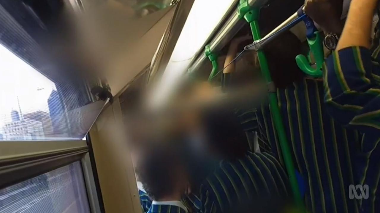 The tram chanting video from 2019. Picture: ABC/Four Corners