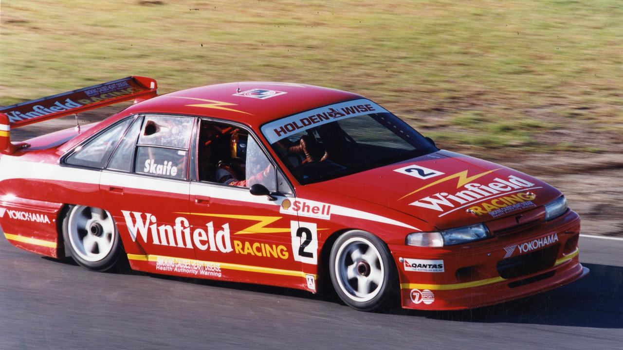 The Holden brand has been synonymous with Supercars racing – here is Mark Skaife during a practice session in 1994.