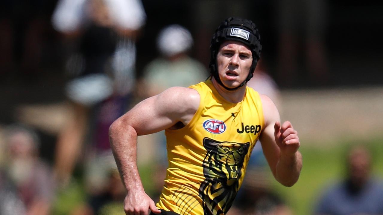 Jack Higgins steps up his training at the Tigers' pre-season camp in Southport.