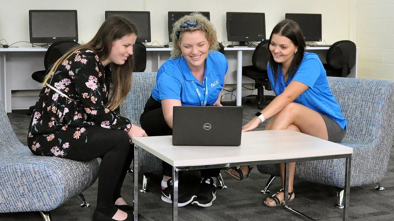 B BLock at the Gympie USC campus 2020: USC Gympie students Kristen Schlein, Hayley Brennan and Taylor Mosk try out the new learning space, which is designed for quiet individual study and group work.