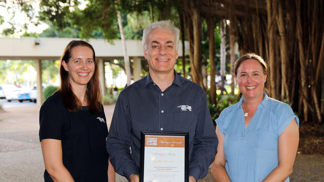PROUD WIN: NQBP community relations adviser Emilie Power, NQBP CEO Nicolas Fertin and Queensland Museum's Dr Melanie Piddocke at the Heritage Awards presented last week. Picture: Contributed.