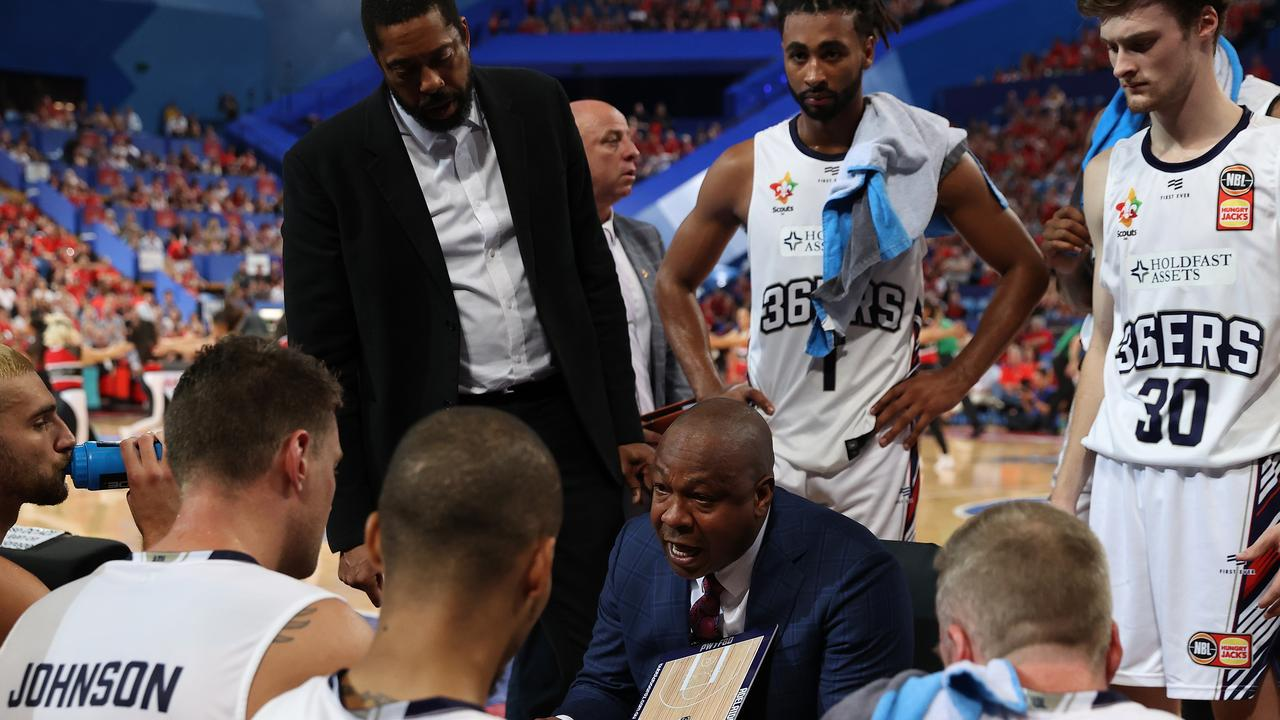 Joey Wright speaks to the Adelaide 36ers during Saturday night's loss to Perth. Picture: Paul Kane (Getty).