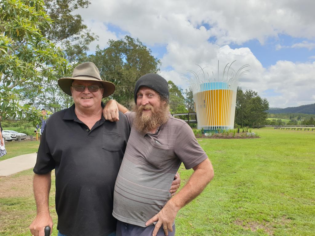 Kenilworth longtime locals and good mates Nigel Scott and David White say the designer dunny toilet block is a fantastic asset to the town. Photo: Matty Holdsworth