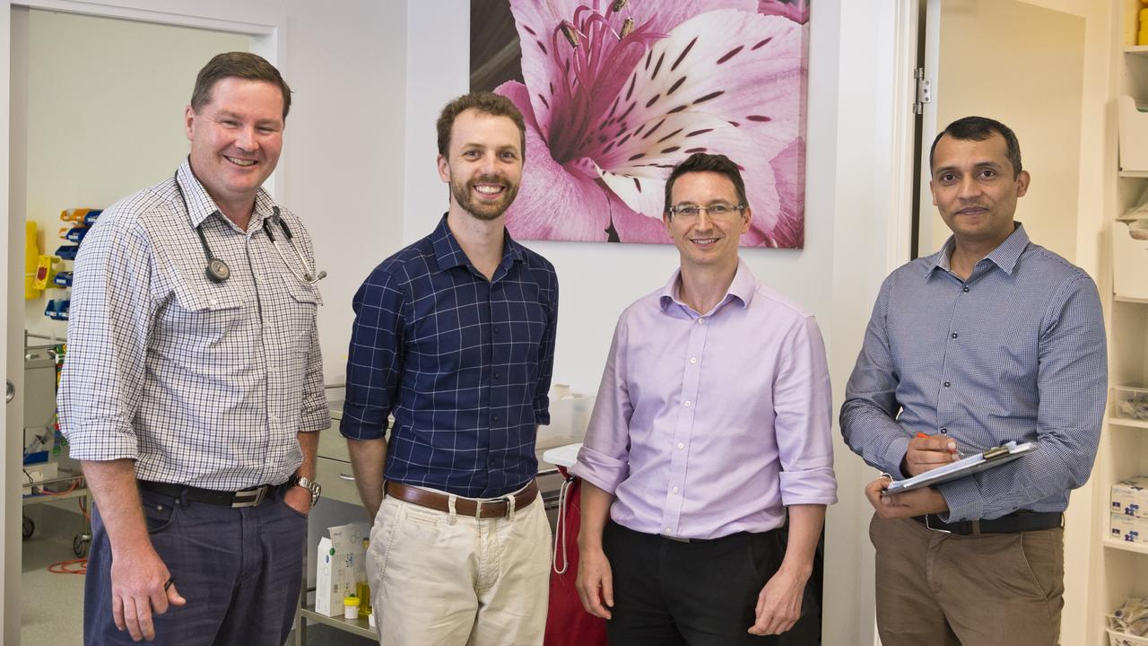 Village Medical Centre doctors (from left) Dr Nick Meyers, Dr Kyle Johnston, Dr Roland Owen and Dr Majid Ali in the expanded Highfields facility, Monday, February 17, 2020. Picture: Kevin Farmer