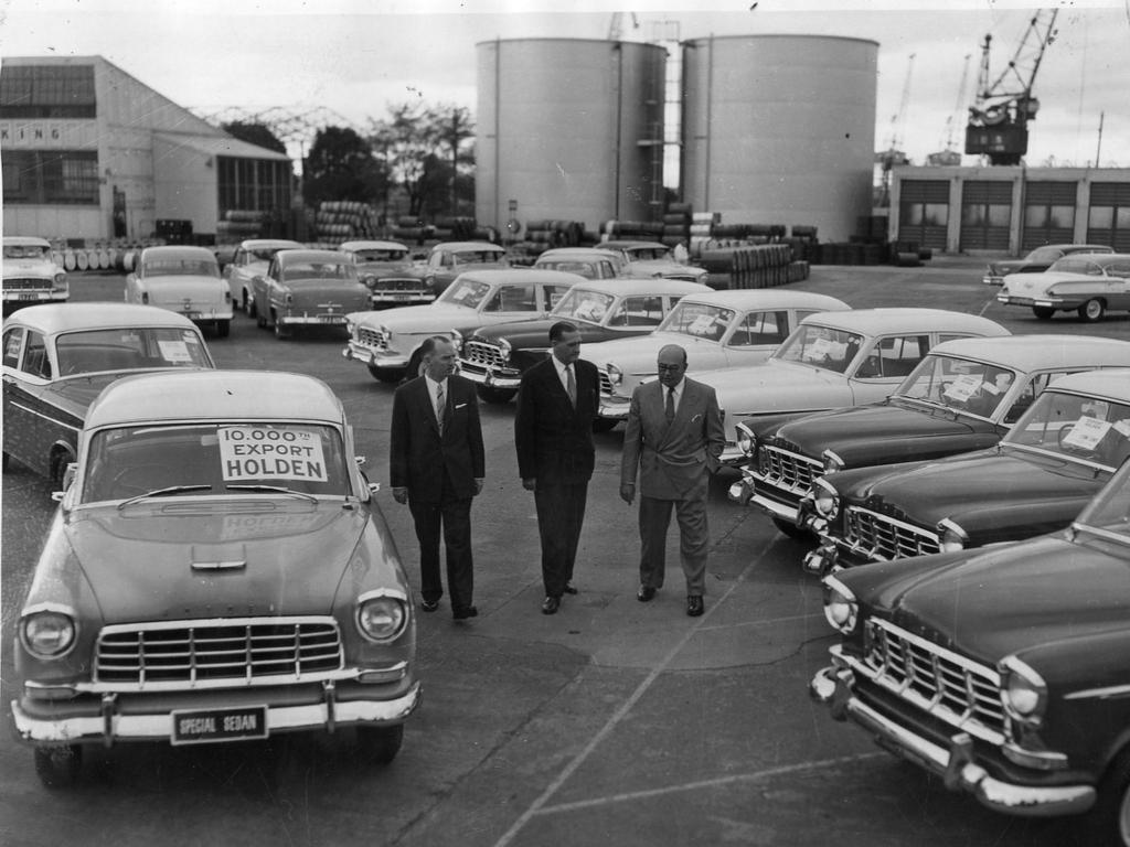 The 10,00th Holden to be exported from Australia since November 1954, rolled off the assembly line at General Motors-Holden's plant at Fishermans Bend, October 1958. Picture: Herald Sun