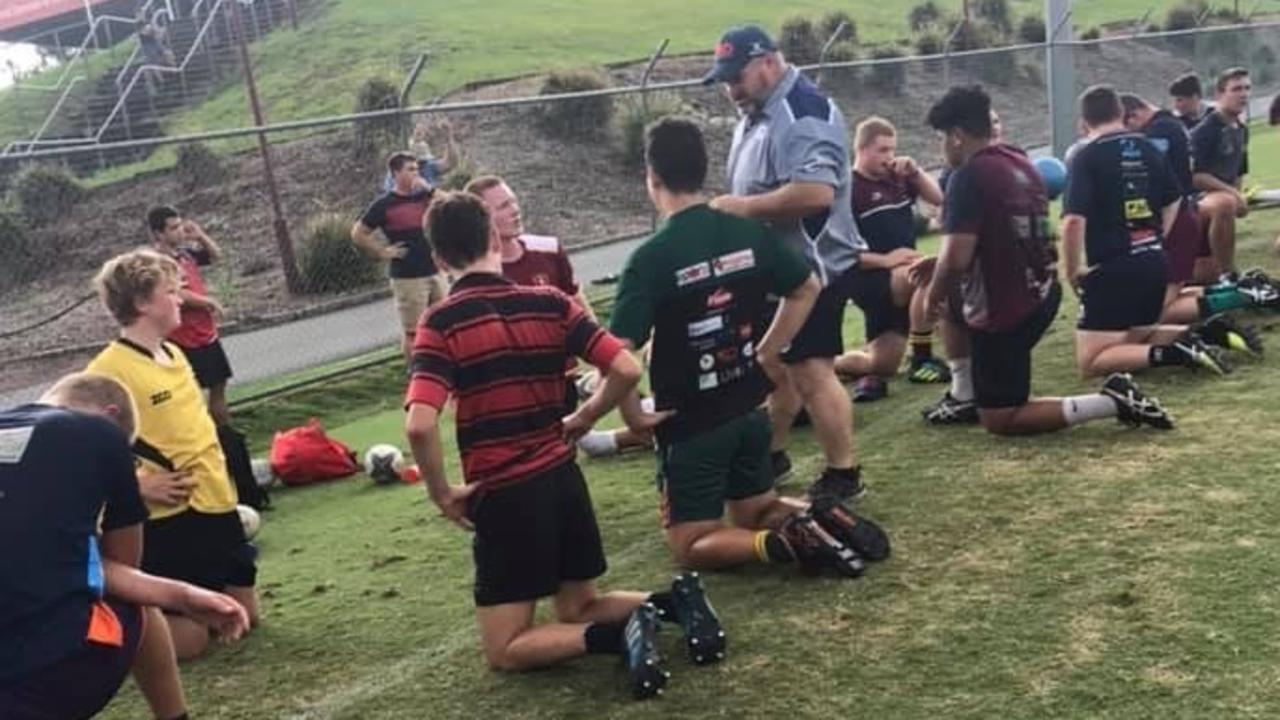 Colley coaching his sons Redlands Under 12's side.