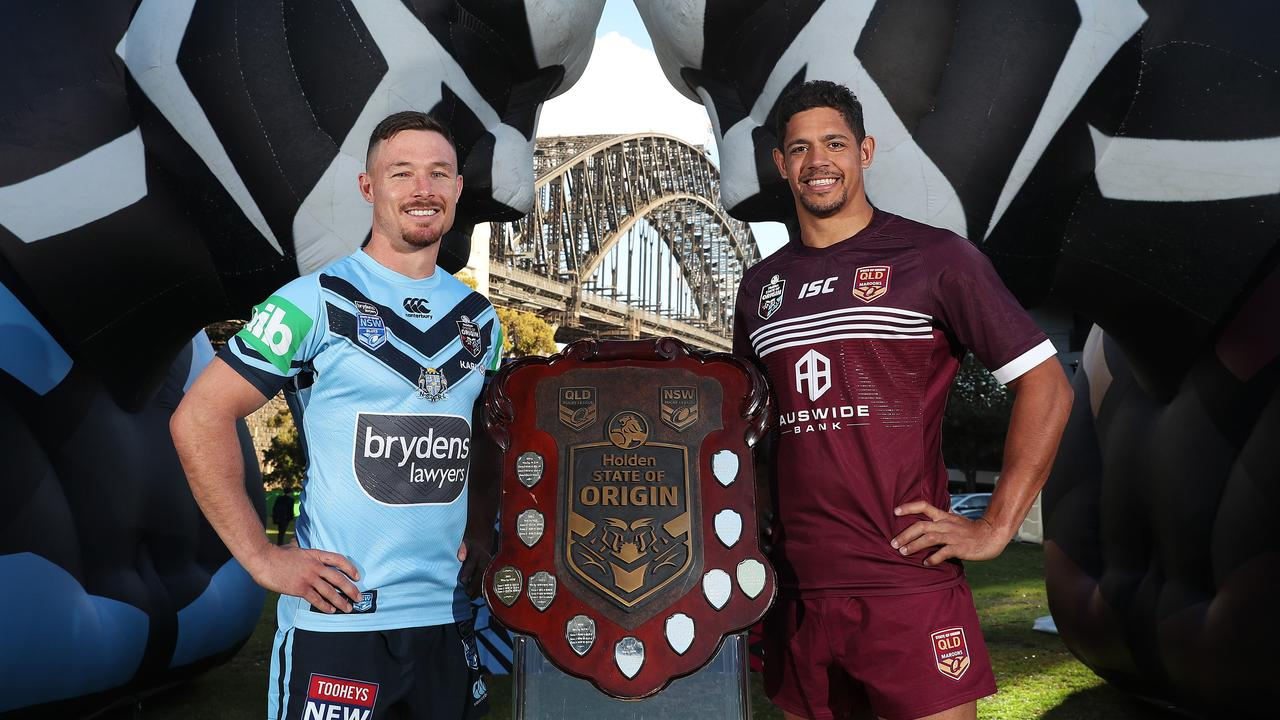 NSW's Damien Cook with QLD's Dane Gagai during the 2019 Holden State of Origin Series launch. Picture: Brett Costello