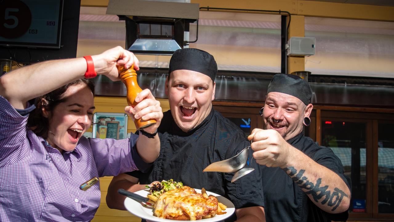 Porters Plainland Hotel manager Mel Porter, apprentice chef Christian Blaxland and junior sous chef Rodney Horne. PHOTO: ALI KUCHEL