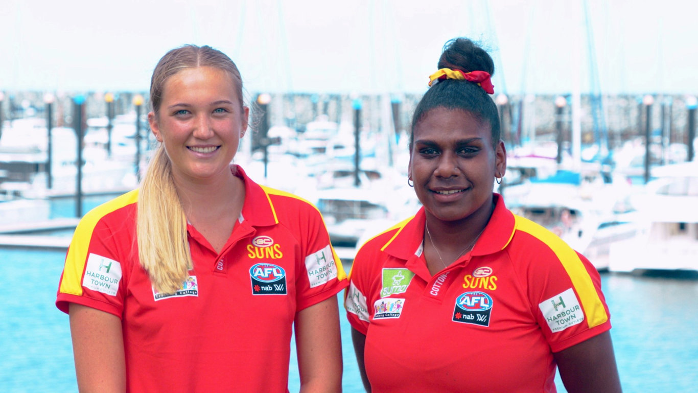 Taylor Smith and Kitara Whap-Farrar at the Mackay Marina.