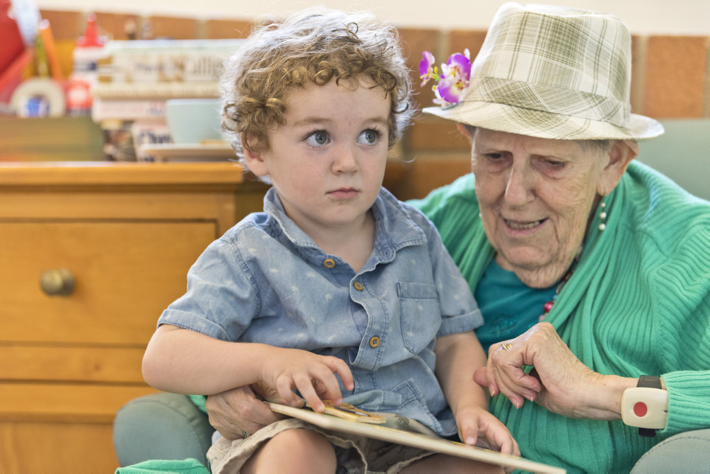 Image for sale: Edward Orford with Esther Bearham during a Babies and Boomers playgroup at Symes Thorpe, Tuesday, February 18, 2020. Picture: Kevin Farmer