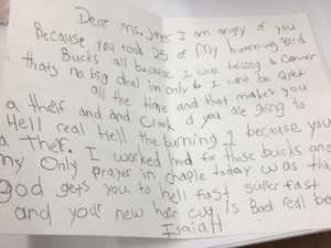 6yo boy damns teacher in hilarious letter