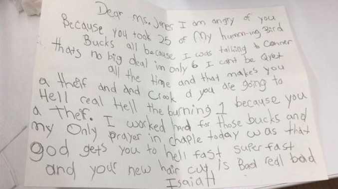 6yo boy damns teacher in hilarious letter
