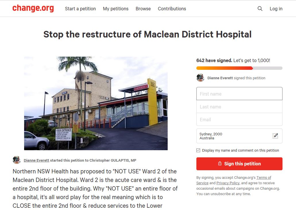 There have been over 500 signatures in less than 24 hours for the Maclean Hospital petition to stop its restructure.