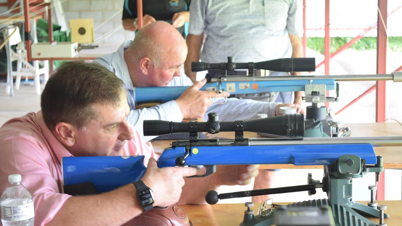 OPENING SHOTS: Federal MP Llew O'Brien (front) and Fraser Coast Councillor Denis Chapman (back), fire the first shots on the newly opened range. Photo: Stuart Fast
