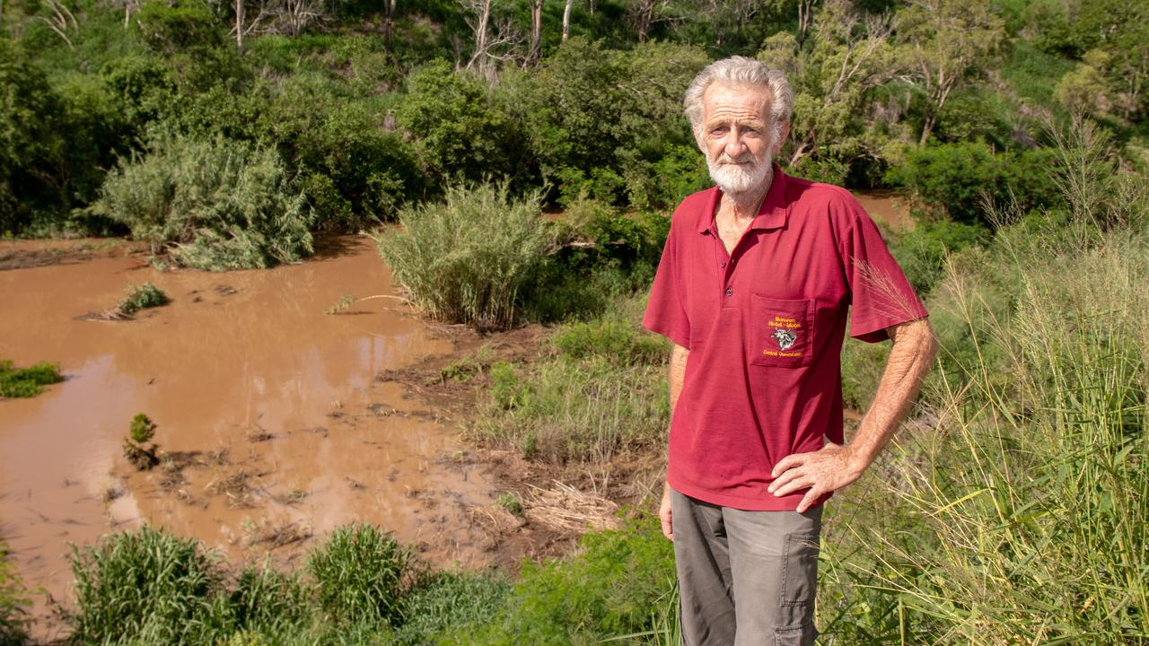 STOP: Gatton's Glen Petfield is calling for the LVRC to stop using plastic tree guards in the Lockyer Creek, after hundreds were washed down stream during recent rains. . Picture: Dominic Elsome