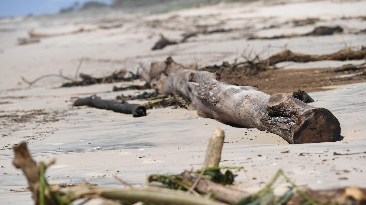 Beach debris washed up on Lighthouse Beach following last week's flooding.