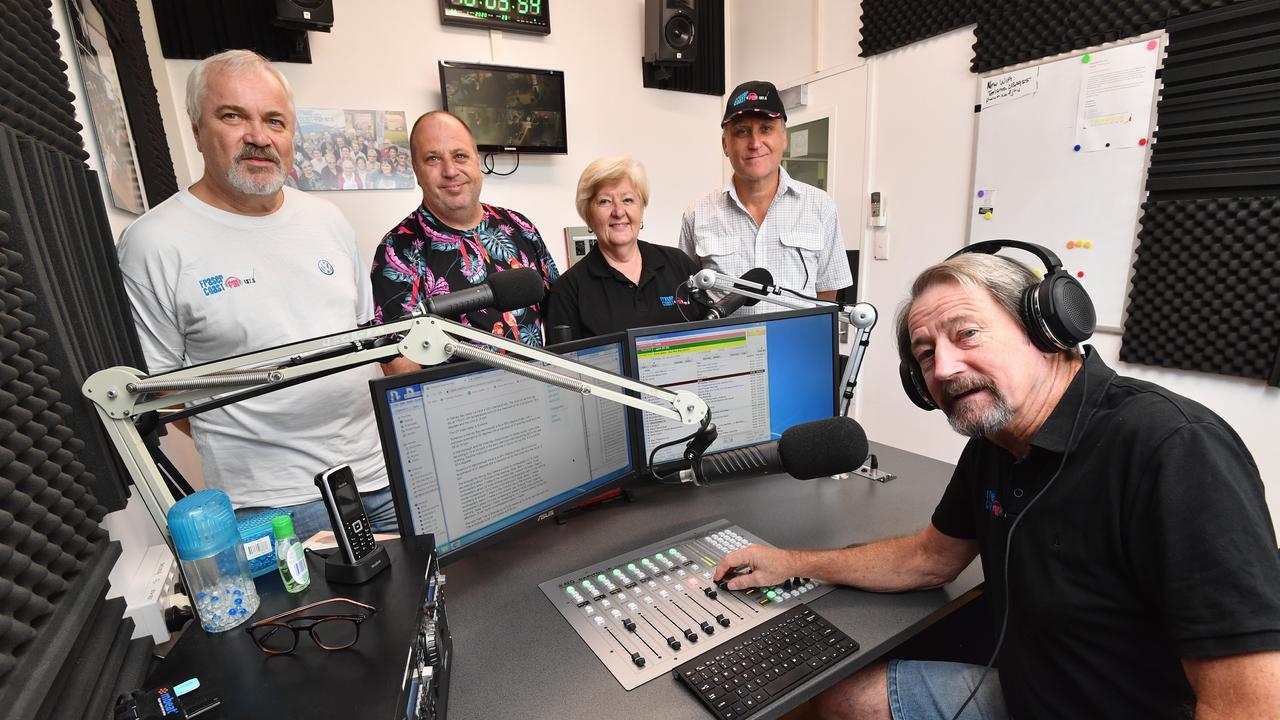 "RADIO MAGIC: Behind the magic at Fraser Coast FM 107.5 are Detlef Wenzel, Mark ""DJ Astro"" Hinds, Desley Dixon, Mark Page and Trevor Franklin. Photo: Alistair Brightman"