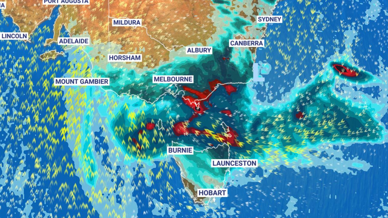 Intense and violent storms could rock NSW and Victoria today. Picture: Sky News Weather