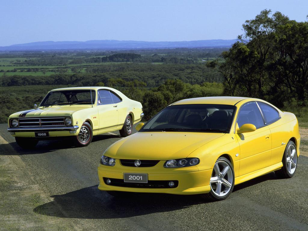 "Holden Monaro - the 1968 ""classic"" original Monaro and the 2001 ""modern"" Monaro."