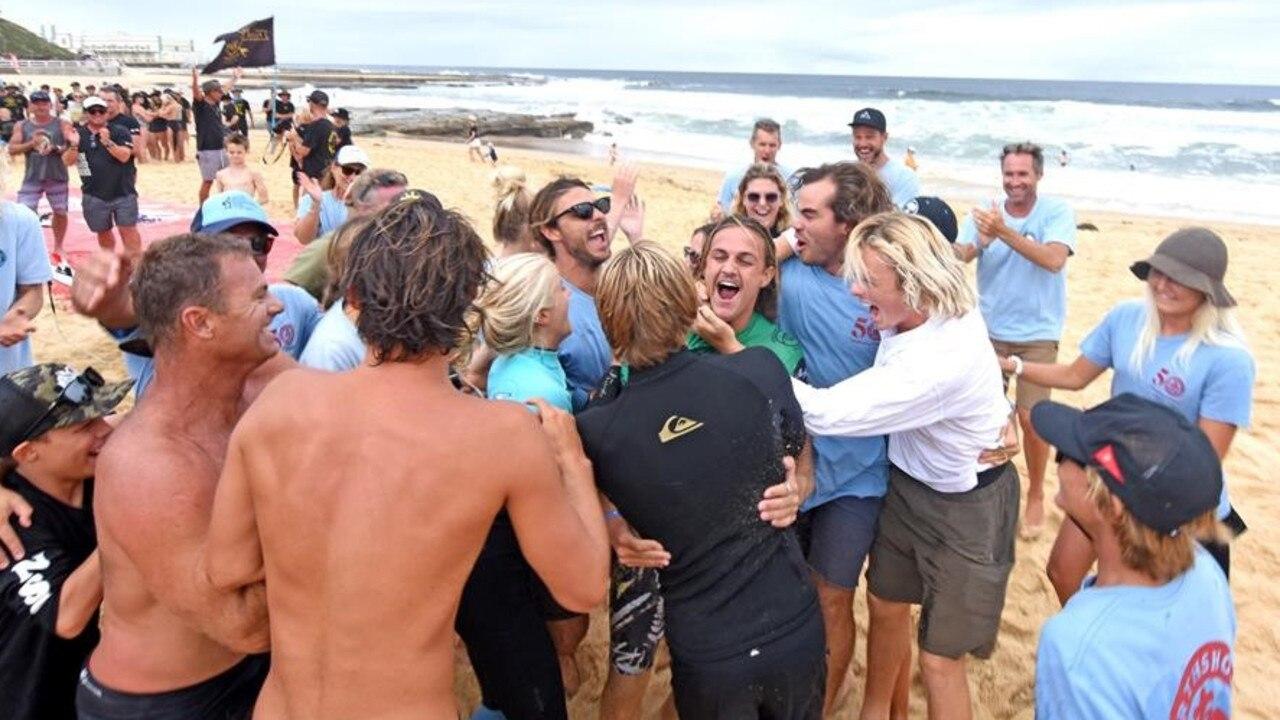 SURFING: North Shore Boardriders and supporters celebrate. Picture: Surfing Australia