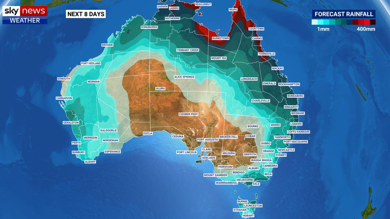 Many parts of Australia could see a dumping this week. Picture: Sky News Weather