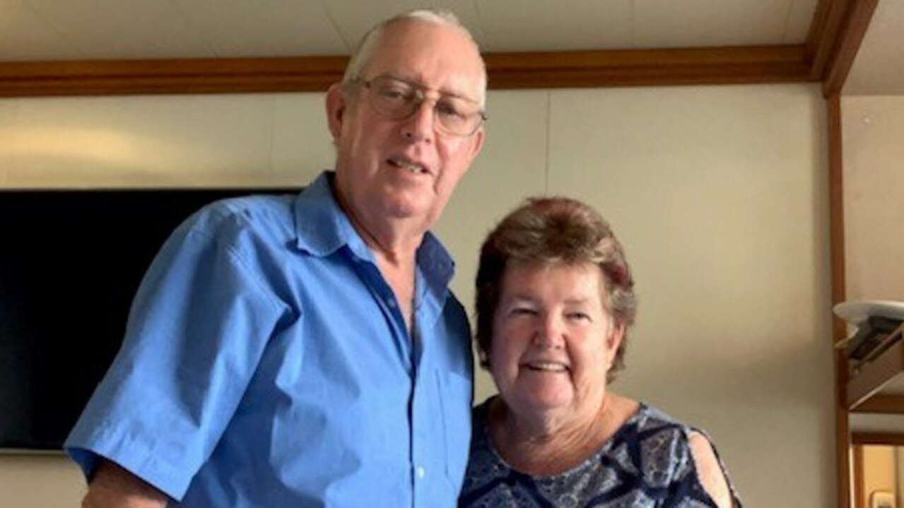 WAITING IT OUT: Peter and Linda Giles from Mackay on board Diamond Princess infected with coronavirus at Yokohama in Japan.